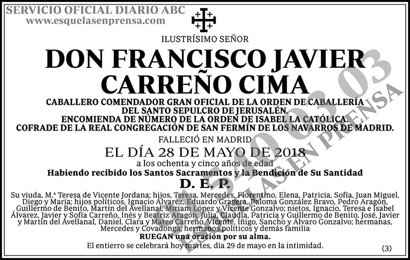 Francisco Javier Carreño Cima